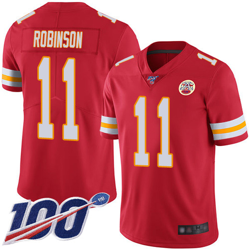 Youth Kansas City Chiefs 11 Robinson Demarcus Red Team Color Vapor Untouchable Limited Player 100th Season Football Nike NFL Jersey