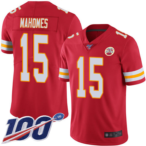 Youth Kansas City Chiefs 15 Mahomes Patrick Red Team Color Vapor Untouchable Limited Player 100th Season Football Nike NFL Jersey