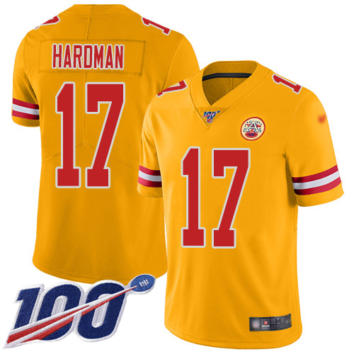 Youth Kansas City Chiefs 17 Hardman Mecole Limited Gold Inverted Legend 100th Season Football Nike NFL Jersey