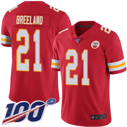 Youth Kansas City Chiefs 21 Breeland Bashaud Red Team Color Vapor Untouchable Limited Player 100th Season Football Nike NFL Jersey