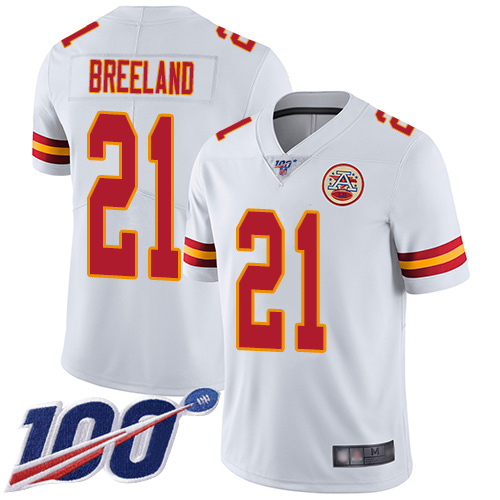 Youth Kansas City Chiefs 21 Breeland Bashaud White Vapor Untouchable Limited Player 100th Season Football Nike NFL Jersey