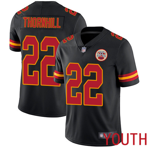 Youth Kansas City Chiefs 22 Thornhill Juan Limited Black Rush Vapor Untouchable Football Nike NFL Jersey