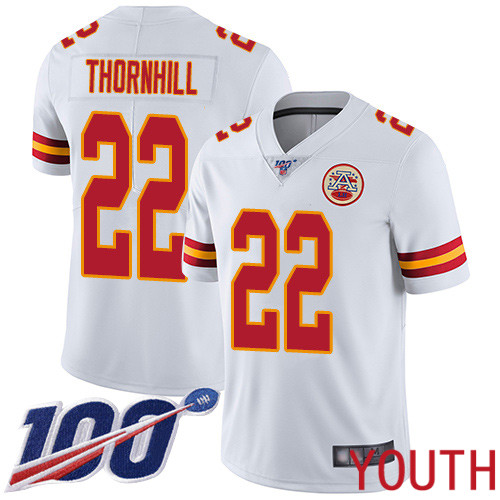 Youth Kansas City Chiefs 22 Thornhill Juan White Vapor Untouchable Limited Player 100th Season Football Nike NFL Jersey