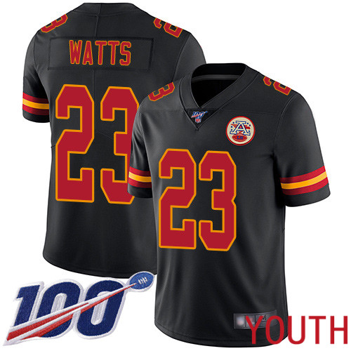 Youth Kansas City Chiefs 23 Watts Armani Limited Black Rush Vapor Untouchable 100th Season Football Nike NFL Jersey