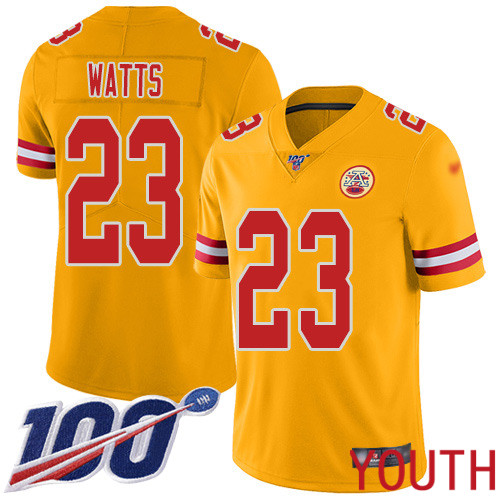 Youth Kansas City Chiefs 23 Watts Armani Limited Gold Inverted Legend 100th Season Football Nike NFL Jersey