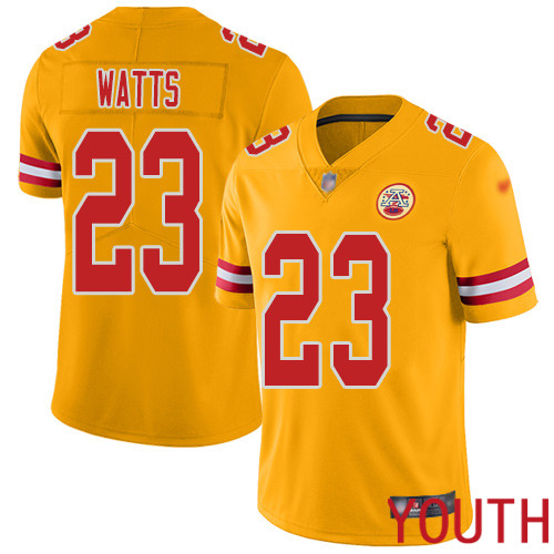 Youth Kansas City Chiefs 23 Watts Armani Limited Gold Inverted Legend Football Nike NFL Jersey
