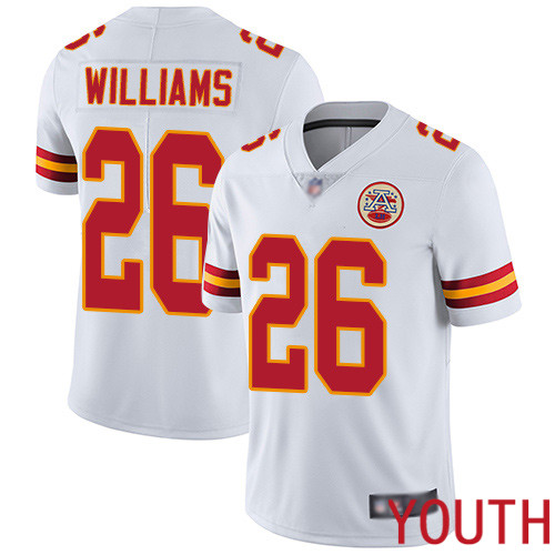 Youth Kansas City Chiefs 26 Williams Damien White Vapor Untouchable Limited Player Football Nike NFL Jersey