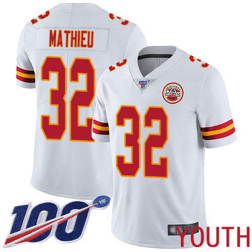 Youth Kansas City Chiefs 32 Mathieu Tyrann White Vapor Untouchable Limited Player 100th Season Football Nike NFL Jersey
