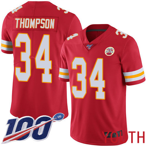 Youth Kansas City Chiefs 34 Thompson Darwin Red Team Color Vapor Untouchable Limited Player 100th Season Football Nike NFL Jersey