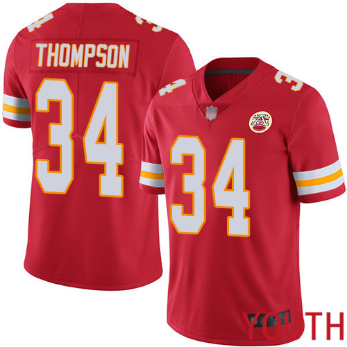 Youth Kansas City Chiefs 34 Thompson Darwin Red Team Color Vapor Untouchable Limited Player Football Nike NFL Jersey