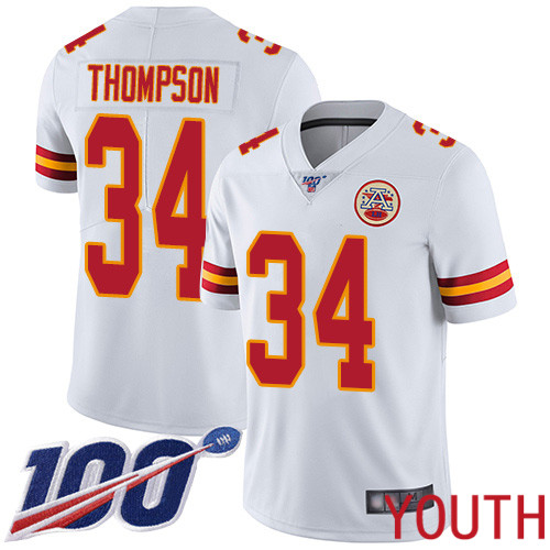 Youth Kansas City Chiefs 34 Thompson Darwin White Vapor Untouchable Limited Player 100th Season Football Nike NFL Jersey