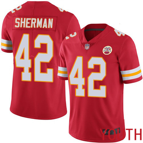 Youth Kansas City Chiefs 42 Sherman Anthony Red Team Color Vapor Untouchable Limited Player Nike NFL Jersey
