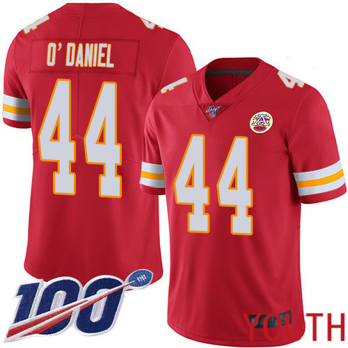 Youth Kansas City Chiefs 44 ODaniel Dorian Red Team Color Vapor Untouchable Limited Player 100th Season Nike NFL Jersey