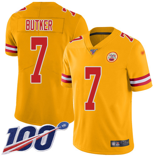 Youth Kansas City Chiefs 7 Butker Harrison Limited Gold Inverted Legend 100th Season Football Nike NFL Jersey