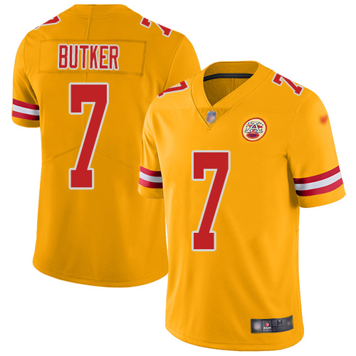 Youth Kansas City Chiefs 7 Butker Harrison Limited Gold Inverted Legend Football Nike NFL Jersey
