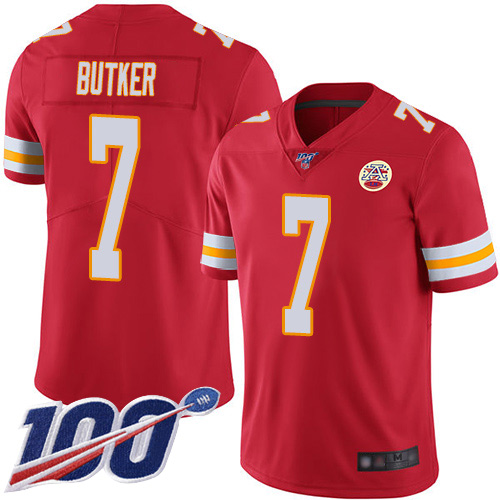 Youth Kansas City Chiefs 7 Butker Harrison Red Team Color Vapor Untouchable Limited Player 100th Season Football Nike NFL Jersey