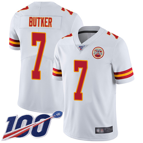 Youth Kansas City Chiefs 7 Butker Harrison White Vapor Untouchable Limited Player 100th Season Football Nike NFL Jersey