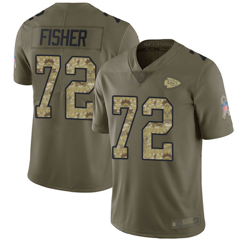 Youth Kansas City Chiefs 72 Fisher Eric Limited Olive Camo 2017 Salute to Service Football Nike NFL Jersey