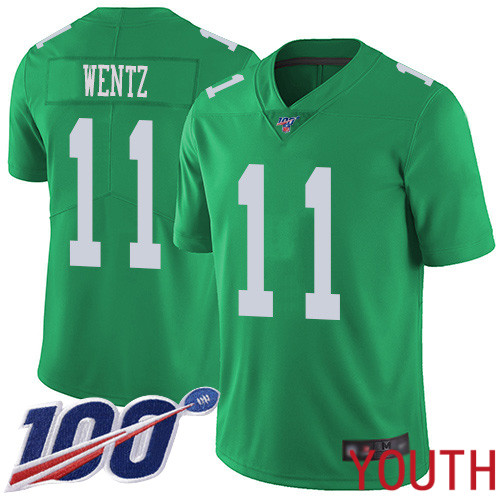 Wholesale Youth Philadelphia Eagles 11 Carson Wentz Limited Green Rush Vapor Untouchable NFL Jersey 100th Season
