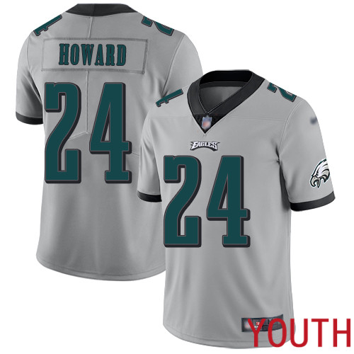 Wholesale Youth Philadelphia Eagles 24 Jordan Howard Limited Silver Inverted Legend NFL Jersey Football