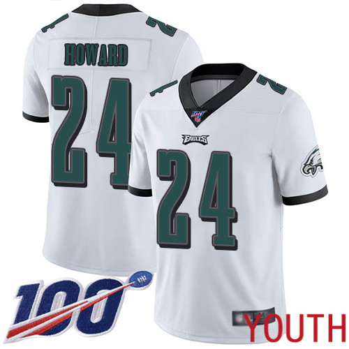 Wholesale Youth Philadelphia Eagles 24 Jordan Howard White Vapor Untouchable NFL Jersey Limited Player Season