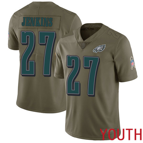 Youth Philadelphia Eagles 27 Malcolm Jenkins Limited Olive 2017 Salute to Service Football NFL Jersey