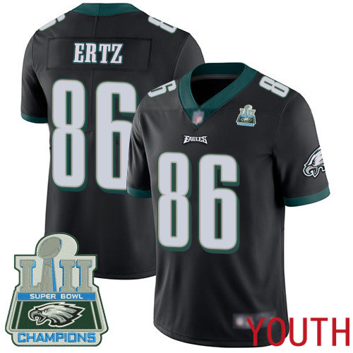 Youth Philadelphia Eagles 86 Zach Ertz Black Alternate Vapor Untouchable NFL Jersey Limited Player Super Bowl LII 100th