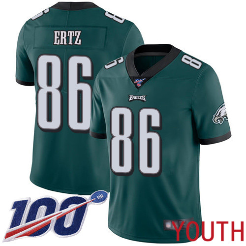 Youth Philadelphia Eagles 86 Zach Ertz Midnight Green Team Color Vapor Untouchable NFL Jersey Limited Player 100th