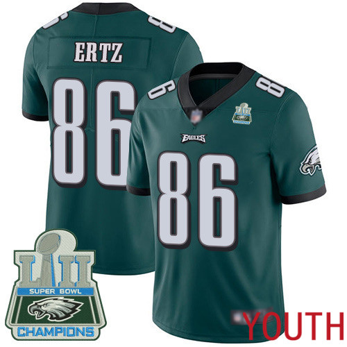Youth Philadelphia Eagles 86 Zach Ertz Midnight Green Team Color Vapor Untouchable NFL Jersey Limited Player Super Bowl 100th