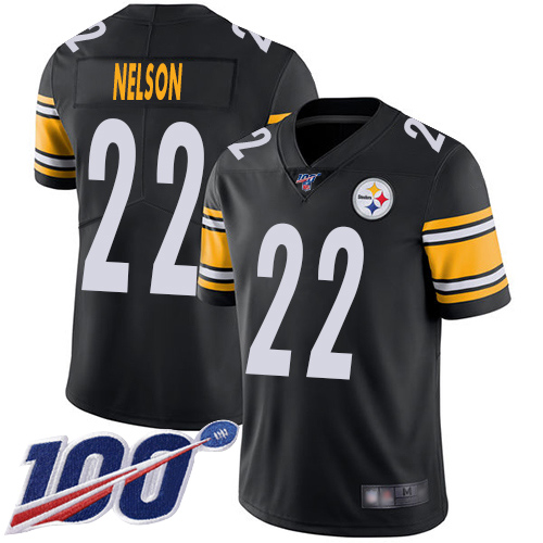 Youth Pittsburgh Steelers Football 22 Limited Black Steven Nelson Home 100th Season Vapor Untouchable Nike NFL Jersey