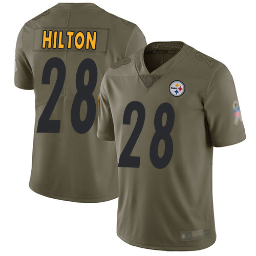 Youth Pittsburgh Steelers Football 28 Limited Olive Mike Hilton 2017 Salute to Service Nike NFL Jersey
