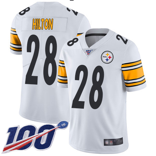 Youth Pittsburgh Steelers Football 28 Limited White Mike Hilton Road 100th Season Vapor Untouchable Nike NFL Jersey