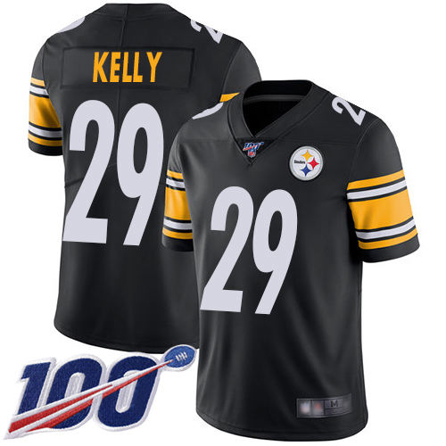 Youth Pittsburgh Steelers Football 29 Limited Black Kam Kelly Home 100th Season Vapor Untouchable Nike NFL Jersey