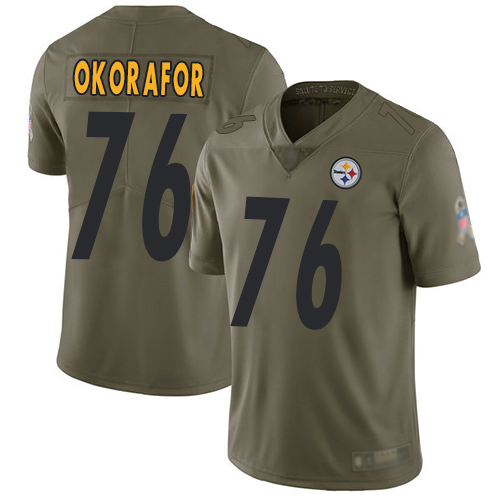 Wholesale Youth Pittsburgh Steelers Football 76 Limited Olive Chukwuma Okorafor 2017 Salute to Service Nike NFL Jersey