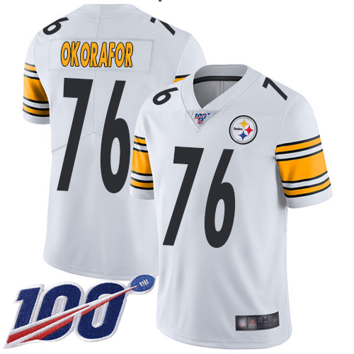 Youth Pittsburgh Steelers Football 76 Limited White Chukwuma Okorafor Road 100th Season Vapor Untouchable Nike NFL Jersey