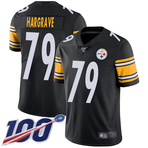 Youth Pittsburgh Steelers Football 79 Limited Black Javon Hargrave Home 100th Season Vapor Untouchable Nike NFL Jersey