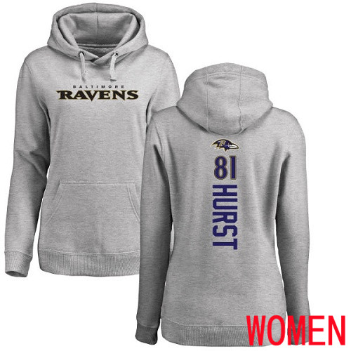 Baltimore Ravens Ash Women Hayden Hurst Backer NFL Football 81 Pullover Hoodie Sweatshirt