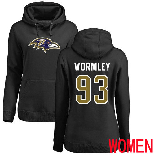 Baltimore Ravens Black Women Chris Wormley Name and Number Logo NFL Football 93 Pullover Hoodie Sweatshirt
