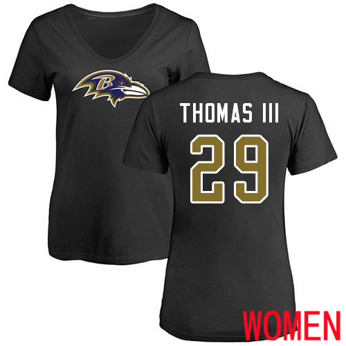 Baltimore Ravens Black Women Earl Thomas III Name and Number Logo NFL Football 29 T Shirt