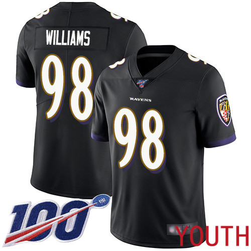 Baltimore Ravens Limited Black Youth Brandon Williams Alternate Jersey NFL Football 98 100th Season Vapor Untouchable