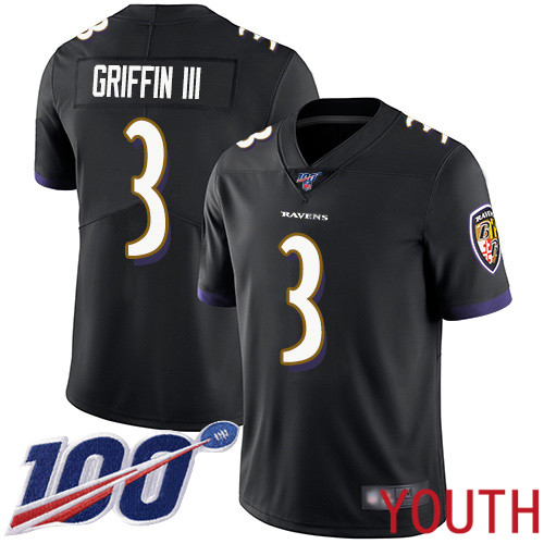 Baltimore Ravens Limited Black Youth Robert Griffin III Alternate Jersey NFL Football 3 100th Season Vapor Untouchable