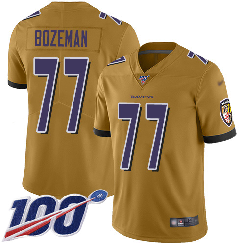 Baltimore Ravens Limited Gold Men Bradley Bozeman Jersey NFL Football 77 100th Season Inverted Legend