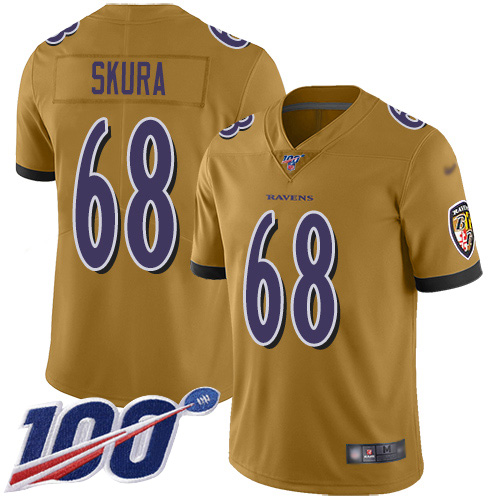 Baltimore Ravens Limited Gold Men Matt Skura Jersey NFL Football 68 100th Season Inverted Legend