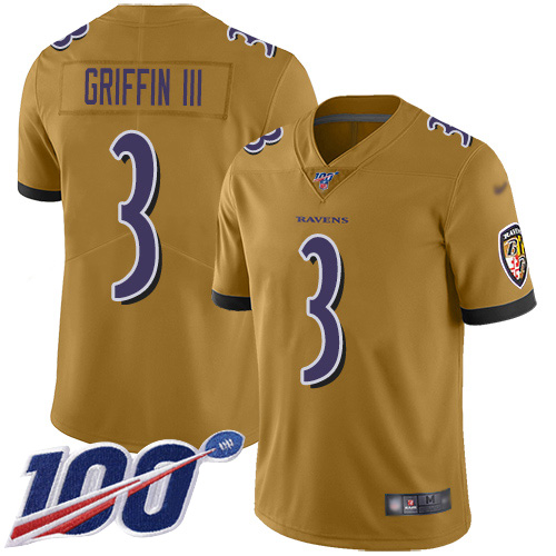Baltimore Ravens Limited Gold Men Robert Griffin III Jersey NFL Football 3 100th Season Inverted Legend