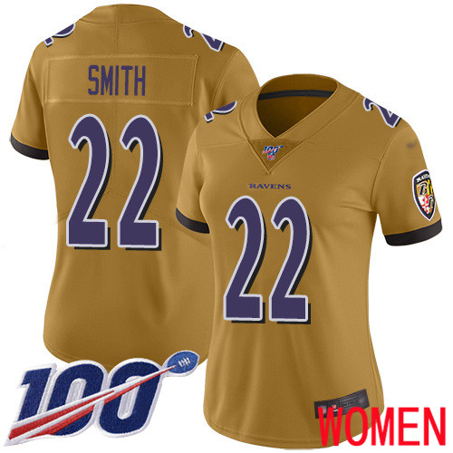 Baltimore Ravens Limited Gold Women Jimmy Smith Jersey NFL Football 22 100th Season Inverted Legend