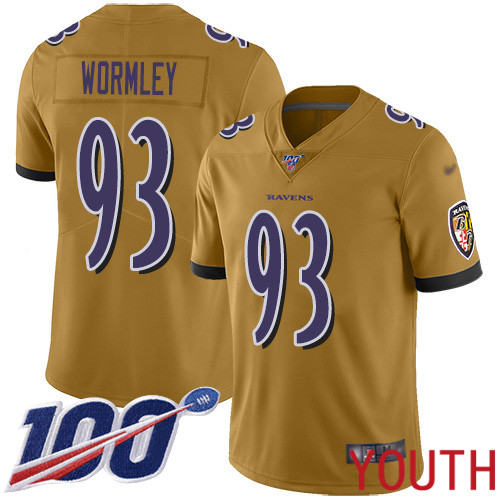 Baltimore Ravens Limited Gold Youth Chris Wormley Jersey NFL Football 93 100th Season Inverted Legend