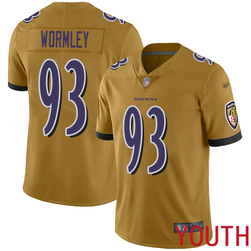 Baltimore Ravens Limited Gold Youth Chris Wormley Jersey NFL Football 93 Inverted Legend