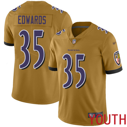 Baltimore Ravens Limited Gold Youth Gus Edwards Jersey NFL Football 35 Inverted Legend