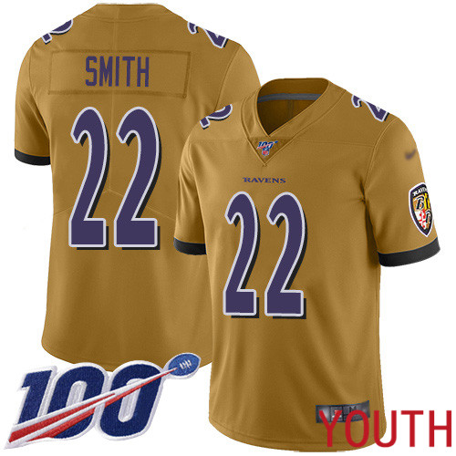 Baltimore Ravens Limited Gold Youth Jimmy Smith Jersey NFL Football 22 100th Season Inverted Legend