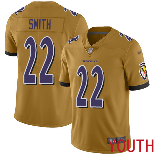 Baltimore Ravens Limited Gold Youth Jimmy Smith Jersey NFL Football 22 Inverted Legend